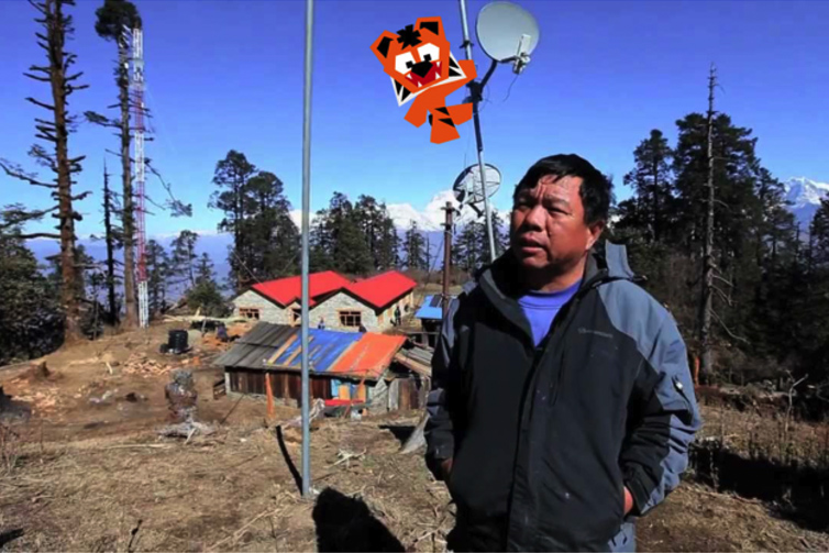 Mahabir Pun explains the Nepal Wireless relay station in Mahore, Nepal